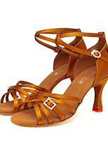 cheap -Women's Latin Shoes Satin Sandal Crystals Thick Heel Dance Shoes Gold / Black / Almond