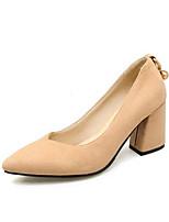 Недорогие -Жен. Обувь Замша Весна Удобная обувь Обувь на каблуках На толстом каблуке Черный / Розовый / Миндальный