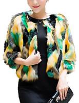 Недорогие -Жен. Пальто с мехом Классический - Контрастных цветов