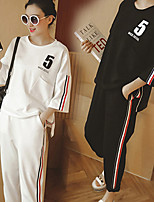 cheap -Women's Pocket 2pcs Tracksuit - White, Black Sports Stripe Tee / T-shirt / Pants / Trousers Yoga, Running, Fitness 3/4 Length Sleeve Activewear Breathable, Sweat-wicking Micro-elastic Regular