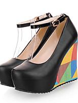 Недорогие -Жен. Комфортная обувь Полиуретан Осень Обувь на каблуках Туфли на танкетке Черный / Синий / Миндальный
