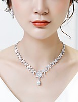cheap -Women's Cubic Zirconia Stylish Jewelry Set - Leaf, Drop Fashion, Elegant Include Drop Earrings / Pendant Necklace White For Wedding / Formal