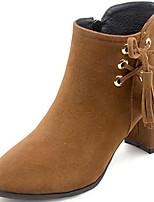Недорогие -Жен. Ботильоны Замша Наступила зима Ботинки На толстом каблуке Круглый носок Ботинки С кисточками Черный / Бежевый / Коричневый