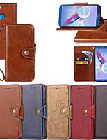 Недорогие -Кейс для Назначение Huawei Honor 9 Lite / Honor 7C(Enjoy 8) Кошелек / Бумажник для карт / со стендом Чехол Однотонный Твердый Кожа PU для Honor 9 / Huawei Honor 9 Lite / Honor 8