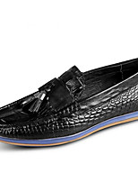 cheap -Men's Moccasin Cowhide Spring British Loafers & Slip-Ons Black / Wine / Tassel