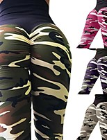 cheap -Women's Sexy / Patchwork Yoga Pants - Army Green, Camouflage, Fuchsia Sports Fashion High Rise Tights / Leggings Running, Fitness, Gym Activewear Sweat-wicking, Push Up, Butt Lift Stretchy Skinny