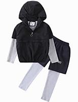 Недорогие -Дети Мальчики Классический Геометрический принт Длинный рукав Хлопок Набор одежды