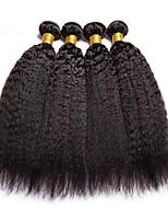 Недорогие -4 Связки Бразильские волосы Естественные прямые Натуральные волосы Человека ткет Волосы / Пучок волос / One Pack Solution 8-28 дюймовый Естественный цвет Ткет человеческих волос