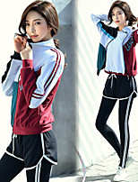 cheap -Women's Crew Neck Patchwork 5pcs Yoga Suit - White+Red Sports Stripe Jacket / Tights / Shirt+Shorts Yoga, Running, Fitness Long Sleeve Activewear Compression, Sweat-wicking, Butt Lift High Elasticity