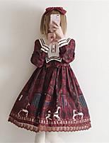 economico -Dolce Dolce Chiffon Per femmina Vestiti Cosplay Rosso / Blu A sbuffo Manica lunga Midi Costumi Halloween