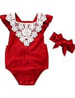 Недорогие -2шт малыш Девочки Активный / Классический Праздники Цветочный принт Кружева Короткие рукава Bodysuit / Дети (1-4 лет)