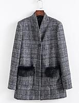 cheap -women's blazer-check v neck