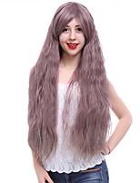 Недорогие -Парики из искусственных волос Волнистый Стрижка каскад Искусственные волосы 24 дюймовый Парик в афро-американском стиле / С Bangs Фиолетовый Парик Жен. Длинные Без шапочки-основы Фиолетовый