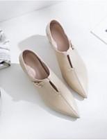 Недорогие -Жен. Наппа Leather Весна & осень Удобная обувь / Туфли лодочки Обувь на каблуках На толстом каблуке Черный / Коричневый / Миндальный