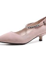 abordables -Femme Chaussures Daim Printemps Escarpin Basique Chaussures à Talons Talon Bas Noir / Rose / Amande