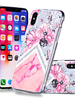 abordables -Coque Pour Apple iPhone X / iPhone 8 Plus Motif Coque Fleur / Marbre Flexible TPU pour iPhone X / iPhone 8 Plus / iPhone 8