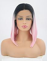 billiga -Syntetiska snörning framifrån Rak Rosa Kort Bob Syntetiskt hår 10-12 tum Justerbar / Värmetåligt Rosa Peruk Dam Korta Spetsfront Svart / Rosa / Ja