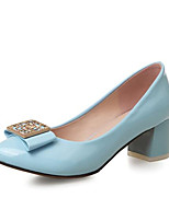 Недорогие -Жен. Лакированная кожа Весна Туфли лодочки Обувь на каблуках На толстом каблуке Черный / Синий / Розовый