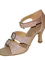 cheap -Women's Latin Shoes Satin Sandal / Heel Flared Heel Customizable Dance Shoes Black / Brown