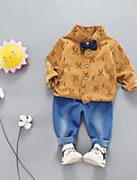 Недорогие -малыш Мальчики Однотонный Длинный рукав Набор одежды