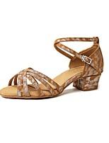 cheap -Women's Latin Shoes Faux Leather Sandal Thick Heel Dance Shoes Leopard