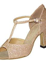 baratos -Mulheres Sapatos de Dança Latina Cetim Sandália / Salto Salto Carretel Personalizável Sapatos de Dança Dourado / Prata