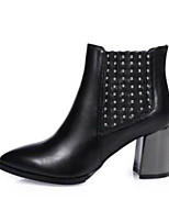 cheap -Women's Shoes Nappa Leather Winter Comfort Boots Chunky Heel Pointed Toe Booties / Ankle Boots Black