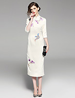 cheap -Women's Vintage / Chinoiserie Sheath Dress - Floral Rose, Embroidered