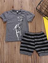 Недорогие -Дети Мальчики Полоски С короткими рукавами Набор одежды