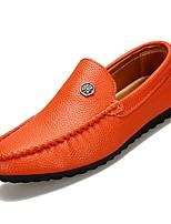 abordables -Hombre PU Otoño Mocasín Zapatos de taco bajo y Slip-On Blanco / Negro / Naranja