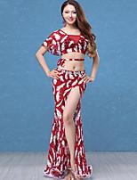 abordables -Danza del Vientre Accesorios Mujer Rendimiento Encaje / Tul Encaje / Fruncido / Separado Manga Corta Cintura Baja Faldas / Top
