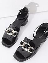 baratos -Mulheres Sapatos Confortáveis Pele Napa Verão Saltos Salto Robusto Preto / Vinho