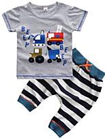 Недорогие -Дети / Дети (1-4 лет) Мальчики Классический Полоски / С принтом / Мультипликация С короткими рукавами Хлопок Набор одежды