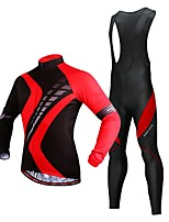 cheap -WOSAWE Men's Long Sleeve Cycling Jersey with Bib Tights - Black / Red Bike Clothing Suit, 3D Pad, Reflective Strips Polyester, Fleece Patchwork / Stretchy