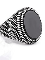 cheap -Men's Obsidian Vintage Style Ring - Titanium Steel Stylish, Classic 8 / 9 / 10 Silver For Daily