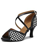 cheap -Women's Latin Shoes Faux Leather Sandal Flared Heel Dance Shoes Black / White