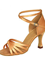 cheap -Women's Latin Shoes Satin Sandal / Heel Flared Heel Customizable Dance Shoes Black / Brown / Nude