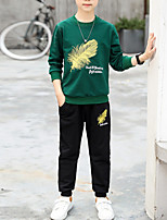Недорогие -Дети Мальчики Классический Однотонный Длинный рукав Хлопок Набор одежды