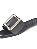 Недорогие -Жен. Обувь Полиуретан Лето Босоножки Тапочки и Шлепанцы На плоской подошве Белый / Черный
