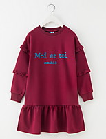 cheap -Kids Girls' Basic Solid Colored Long Sleeve Above Knee Dress