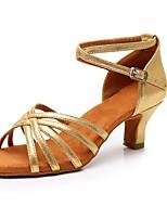 cheap -Women's Latin Shoes Synthetics Sandal / Heel Buckle Cuban Heel Customizable Dance Shoes Gold