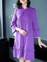 Недорогие -Жен. Классический / Элегантный стиль Оболочка Платье - Однотонный До колена