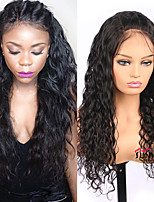 cheap -Remy Human Hair Lace Front Wig Brazilian Hair Water Wave Wig Middle Part 130% Medium Size / Natural Hairline Black Women's Long Human Hair Lace Wig