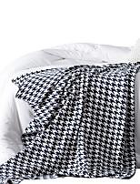 baratos -Super Suave, Impressão Reactiva Houndstooth / Preto e Branco Algodão cobertores