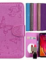 Недорогие -Кейс для Назначение Xiaomi Mi 8 SE Бумажник для карт / со стендом / С узором Чехол Бабочка / Цветы Твердый Кожа PU для Xiaomi Mi 8 SE
