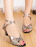 Недорогие -Жен. Обувь для латины Полиуретан На каблуках Тонкий высокий каблук Танцевальная обувь Золотой / Серебряный