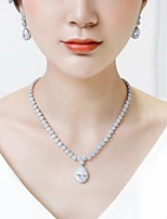 cheap -Women's Cubic Zirconia Stylish Jewelry Set - Drop Fashion Include Drop Earrings / Pendant Necklace White For Wedding / Party