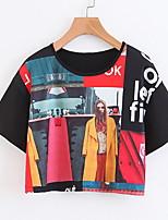 Недорогие -женская футболка - портрет / цветной блок вокруг шеи