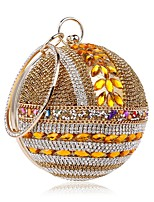 cheap -Women's Bags Polyester / Alloy Evening Bag Crystals Gold / Silver / Red