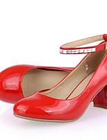 Недорогие -Жен. Комфортная обувь Лакированная кожа Весна Обувь на каблуках На толстом каблуке Черный / Красный
